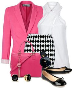 Pink, white and black
