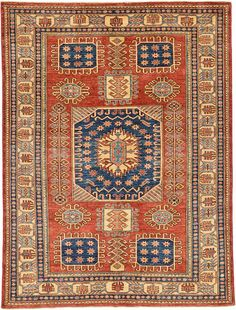 Rust Red Geometric Kazak Area Rug