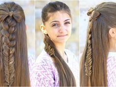 Half-Up bow combo cute girls hairstyles mädchen frisuren, frisuren bilder, Cool Hairstyles For Girls, Elegant Hairstyles, Trendy Hairstyles, Girl Hairstyles, Braided Hairstyles, Teenage Hairstyles, School Hairstyles, Popular Hairstyles, Hairstyles Haircuts
