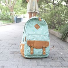 Fresh Polka Dot Embellishment Canvas Backpack only $38 in ByGoods.com
