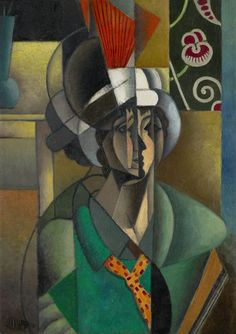 Jean Metzinger / Woman with a Fan / 1913 / Oil on canvas. Cubism, Puteaux Group, Neo-Impressionism, Fauvism, Divisionism