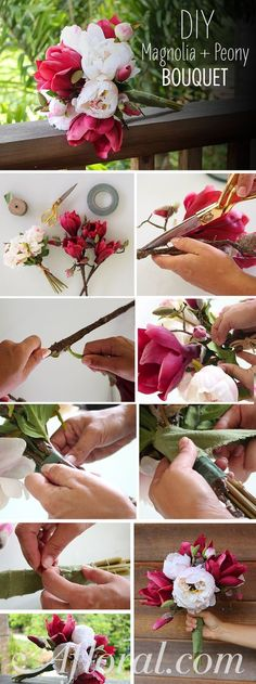 DIY Magnolia and Peony Bridal Bouquet. You can make your own wedding bouquet with high-quality silk Silk Bridal Bouquet, Peony Bouquet Wedding, Ribbon Bouquet, Peonies Bouquet, Diy Bouquet, Diy Wedding Flowers, Bridal Bouquet Diy, Boquet, Ribbon Flower