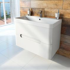Planet Select White Wall Hung 800 Drawer Unit & Inset Basin