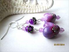 Purple Lampwork Silver Laced Heart Bead Purple Jade Sterling Earrings | @Specialtivity - Jewelry on ArtFire