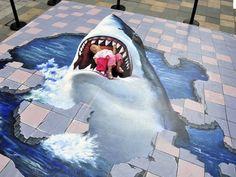 Shark Attack Sidewalk Illusion - this looks so realistic