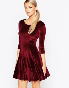 Boohoo+Long+Sleeve+Velvet+Skater+Dress
