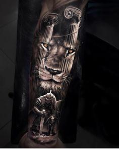 Lambs Become Lions - Tattoo Ideas Lion Back Tattoo, Lion Tattoo Sleeves, Lion Sleeve, Mens Lion Tattoo, Tribal Sleeve, Gladiator Tattoo, Forearm Tattoos, Cool Tattoos, Finger Tattoos