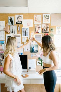 Swimsuit designer Marysia Reeves and blogger Aimee Song hang out in the designer's Santa Monica studio office.