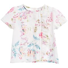 Patachou Girls White Floral Cottom Blouse at Childrensalon.com