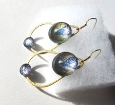 Blue & Gold Modern Unique Teardrop Dangle Hoop by TheGlitorisShop