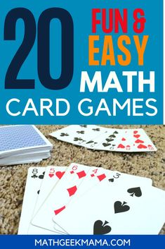 Math Card Games for Kids - an amazing resource for all math teachers - easy math games for all ages - and you just need a deck of cards! You'll get 40 math card games that cover a wide range of math skills #mathcardgames #mathgames #homeschoolmath Easy Math Games, Math Card Games, Free Printable Math Worksheets, Kindergarten Math Games, Card Games For Kids, Fun Math Activities, Educational Activities For Kids, Math For Kids, Math Resources