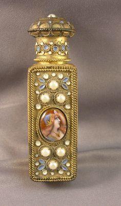 Antique French Jeweled Gilt Metal Enamel Lady Portrait Lay Down Perfume Bottle | eBay