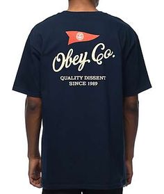 Obey Nautical Navy T-Shirt Cool Shirts, Tee Shirts, Tee Design, Apparel Design, Printed Shirts, Shirt Designs, Chinese Clothing, Graphics, Script