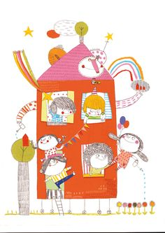 Unicef greeting card, Christine Roussey. #colorful #whimsical