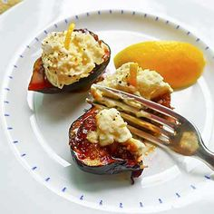 Honey-Grilled Figs with Lemon Mascarpone | Laurie Constantino *Honey enhances flavor of figs *Simple and fast dessert *Gluten-free and vegetarian