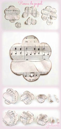 Juliart: DIY rosas de papel con partituras / Juliart: DIY sheet music roses