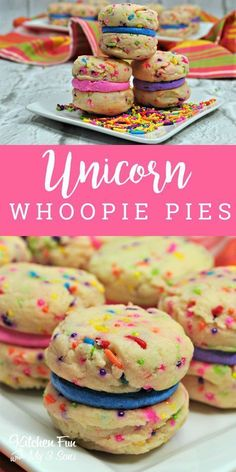Unicorn Whoopie Pies | Fun Unicorn Dessert Recipe with funfetti and sprinkles! #unicorn #unicornparty #cookies #recipe