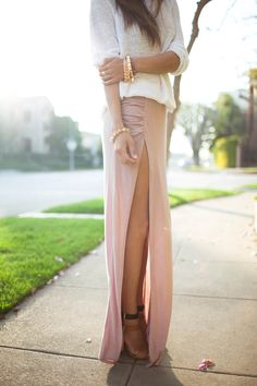 white sweater, blush side split maxi skirt, leather 2 tone heels, gold jewelry