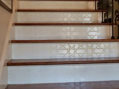 Our Camel Bone Weave Moroccan Stencil creates alluring geometric lines and an interwoven pattern on painted walls, ceilings, and floors. This wall stencil include a Free Ceiling Filler Stencil. Stenciled Stairs, Painted Stair Risers, Painted Staircases, Stenciled Floor, Redo Stairs, Tile Stairs, Concrete Stairs, Wooden Stairs, Stair Redo
