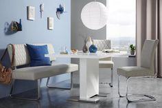 Esstisch in Weiß Hochglanz online kaufen ➤ mömax Corner Desk, Dining Table, Modern, Furniture, Home Decor, Dinner Room, Dinning Table, Food, Corner Table