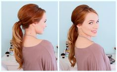 I love this ponytail! I think it's a great current take on bumped ponytails. To make it more trendy, leave the ponytail straight, more retro, don't add extra...