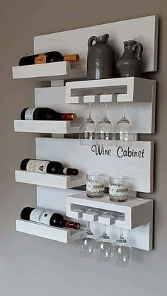 Wall Shelf Ideas (Shelves for Every Room) - 27 Exclusive Wall Shelf Ideas - Mini Bars, Diy Home Bar, Bars For Home, Mini Bar At Home, Very Small Kitchen Design, Design Kitchen, Wine Rack Design, Diy Casa, Home Bar Designs