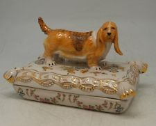 Continental Porcelain Jewellery Box - Basset Hound Figure to Lid - Floral Design