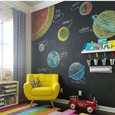 I LOVE a good chalkboard wall in a kidsroom especially when its as cute as this one from steelestreetstudios We also have one in our basement play area and the dustless chalk I bought for it from Amazon has seriously been a game changer I was super skeptical at first but it really is dustless Now the kiddos and their OCD mama can draw until their hearts are content and dont have to deal with cleaning up a giant mess afterward Its the little victories here you guys Right What are your…
