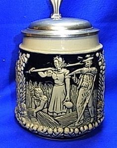 Vintage German Tin Top Lidded Beer Stein Farmer on Field
