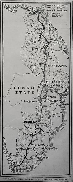 1899 map of the planned Cape to Cairo Railway