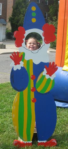 Foam Art Creation - Clown Photo Op made for block party with circus theme