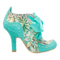 Abigails Party This classic Irregular Choice bootie just gets better and better every season. Floral print fabric and mint lace adorn this pretty shoe and a mint ribbon lace offers the perfect finish.