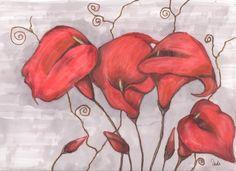 calas rojas pintadas con prismacolor
