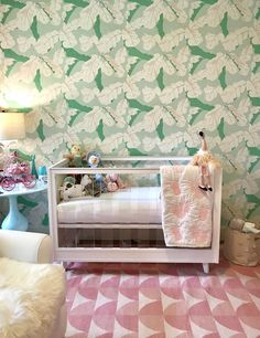 We're crushing on this girly and oh-so-chic nursery from See the whole room, including a gorgeous vintage pink dresser. Pink And Green Nursery, Gold Nursery, Chic Nursery, Baby Nursery Decor, Project Nursery, Nursery Design, Nursery Themes, Room Themes, Baby Decor