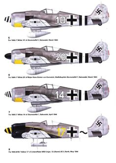 1939-49 Focke-Wulf FW 190. Luftwaffe, HAF, TAF - Fighter. Engine: Junkers Jumo 213 A-1, 12 cyl inverted-Vee piston engine, 1,287 kW (1,750 PS) or 1,544 kW (2,100 PSS) with boost. Armament: 2 x 13 mm (.51 in) MG 131 machine guns, 2 x 20 mm MG 151 cannons in the wing root, 1 x 500 kg (1,102 lb) SC 500 bomb (optional). Max Speed: 685 km/h (426 mph) @ 6,600 m (21,655 ft), 710 km/h (440 mph) @11,000 m (36,000 ft) Ww2 Aircraft, Fighter Aircraft, Military Aircraft, Luftwaffe, Air Fighter, Fighter Jets, Focke Wulf 190, Military Drawings, Aircraft Painting
