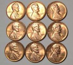 1966 Uncirculated Mint Lincoln Memorial MS BU Red Cents - Lot of 9 coins !