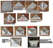Pliage de serviette en papier plier une serviette en forme de croissant pli - Pliage serviette table ...
