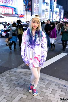 [Dip Dye Hair & Tie Dye Hoodie in Harajuku] Model: Ezaki Nanaho,18-year-old Japanese fashion model. Hair: dip dye purple & blue hair, Sweater: tie dye hoodie sweater from Nadia Harajuku with white tights, Sneakers: Converse low top, Accessories: New Era unicorn snapback from Nadia and LOL socks. #DipDyeHair
