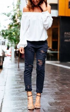 off the shoulders white shirt + distresed denim