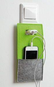 Astuccio di feltro per cellulare, verde/grigio