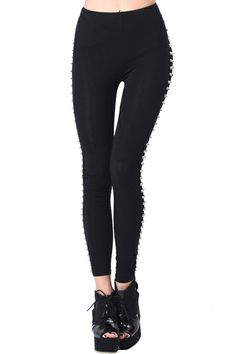 Rivets Detail Sides Leggings. Description Black leggings, has been crafted from cotton fabric main, featuring a stretchy waist, full length rivets detailing to sides, and all in a soft-bodycon fit finish. Fabric Cotton Blends,Spandex Washing Cool hand wash with similar colours, do not tumble dry. #Romwe