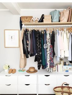 Best small closet solutions diy built ins ideas Hanging Wardrobe, Open Wardrobe, Wardrobe Closet, Closet Bedroom, Wardrobe Ideas, Hanging Closet, Summer Wardrobe, Small Closet Space, Small Spaces