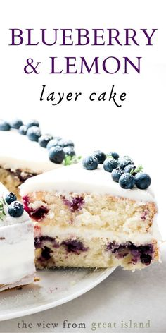 Blueberry Lemon Layer Cake is the perfect spring and summer cake for birthdays and special occasions easy recipe cake dessert blueberries lemon layercake birthday yellowcake Summer Dessert Recipes, Spring Desserts, Köstliche Desserts, Easter Recipes, Desserts For Birthdays, Summer Desserts For Parties, Easy Birthday Desserts, Summer Deserts, Lemon Layer Cakes