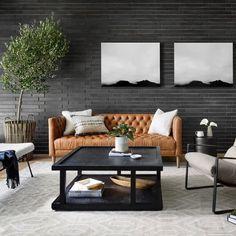 Living Room Modern, Living Room Sofa, Living Room Designs, Living Room Decor, Living Room Ideas Leather Sofa, Scandinavian Living Rooms, Apartment Living Rooms, Tufted Leather Sofa, Leather Couches