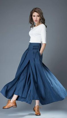 The Linen pants is a blue culottes, it seem like a skirt when you see it. the womens pants is closed by zipper. The women linen pants has two side pockets. It has pleated on the waistband. Linen Pants Women, Wide Leg Linen Pants, Linen Trousers, Linen Skirt, Pants For Women, Clothes Women, Woman Clothing, Skirt Pants, Shorts