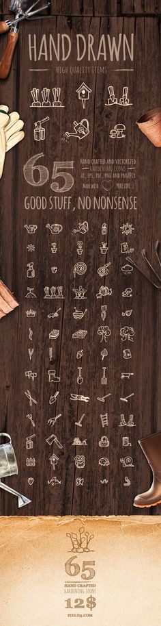 65 high quality, hand drawn and vectorized gardening icons.Package contains ai, eps, pdf, png and png@2x for retina screens   There's more!  ...