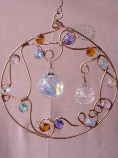 Copper, prisms, beads suncatcher . . . . ღTrish W ~ http://www.pinterest.com/trishw/ . . . .