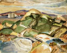 Sheep Island, by Marguerite Thompson Zorach, 1919 Fauvism Art, Female Art, Landscape Paintings, Sheep, Maine, Watercolor, Island, Abstract, Artist