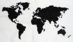 Mapa Mundi - Ponto Cruz, Cross Stitch