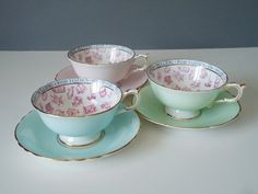Tea Cup and Saucer Set, Fortune Telling Teacups - Paragon Fortune Telling Cup - Teacups and Saucers - 3 Vintage Cups and Saucers